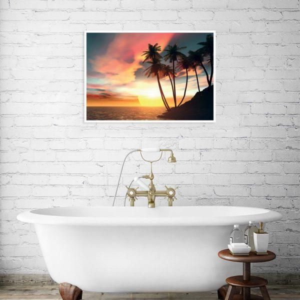 widok na morze na plakacie w łazience