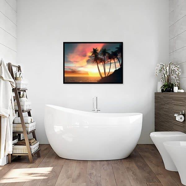 plakat morze i palmy nad wanną