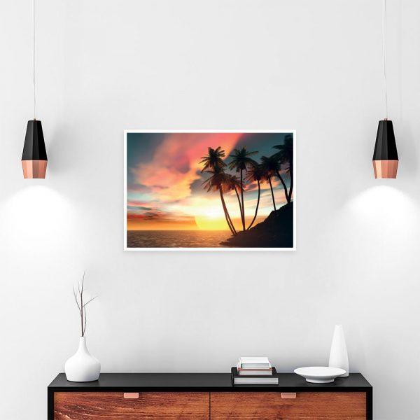 plakat morze i palmy