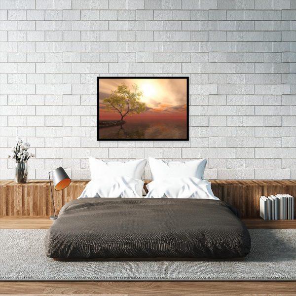 plakat z widokiem na jezioro nad łóżko