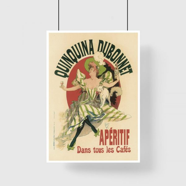plakat retro wino kobieta i kot