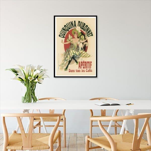 plakat kobieta wino i kot