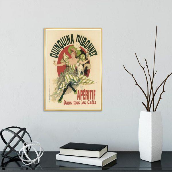 plakat z kobietą pijącą wino