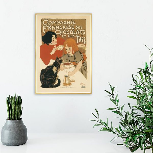 plakat retro rodzina z kotem