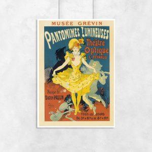 plakat retro z kobietą w żółtej sukience