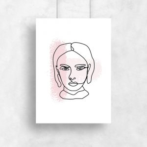 plakat szkic kobiecej twarzy i różowe smugi