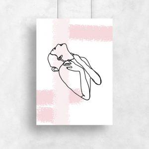 plakat szkic kobiety różowe smugi