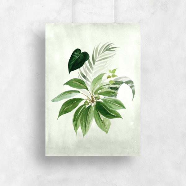 plakat z rysunkiem liści