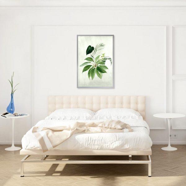 plakat z liśćmi do sypialni