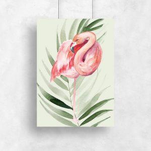 tropikalny motyw flaminga na plakacie