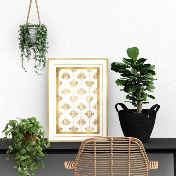 Złoty plakat art deco z liśćmi