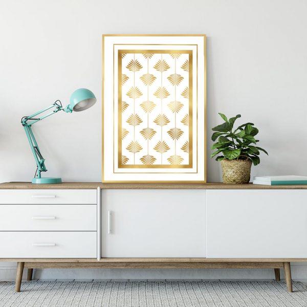 Plakat geometryczny z metalicznymi liśćmi