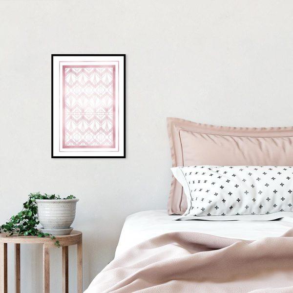 Różowo-złoty plakat art deco