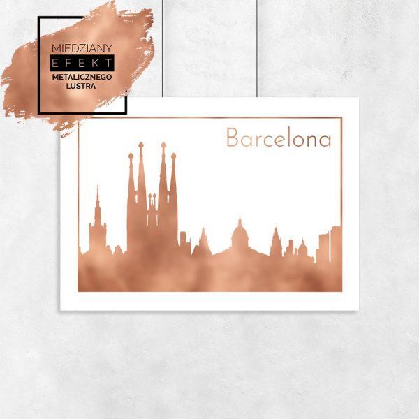Miedziany plakat z motywem barcelony