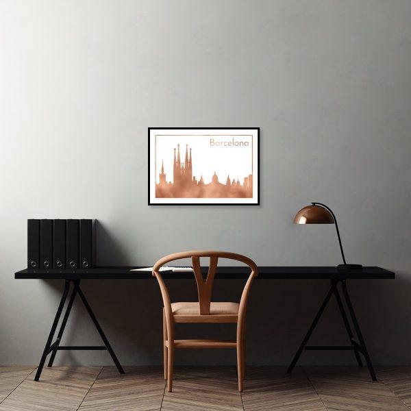 Plakat metaliczny z architekturą barcelony
