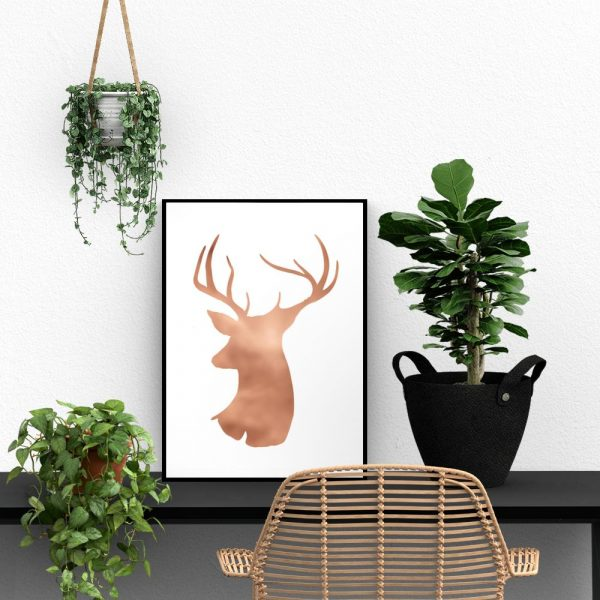 Plakat metaliczny z motywem jelenia