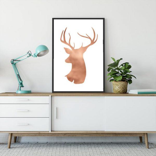 Plakat miedziany z jeleniem