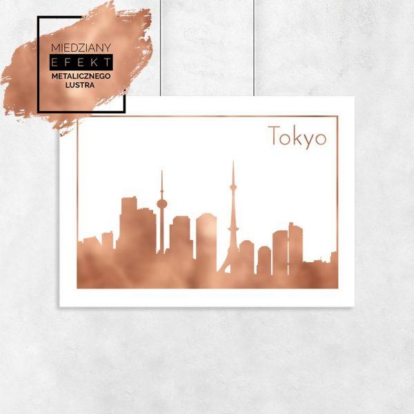 Plakat lustrzany z architekturą Tokio