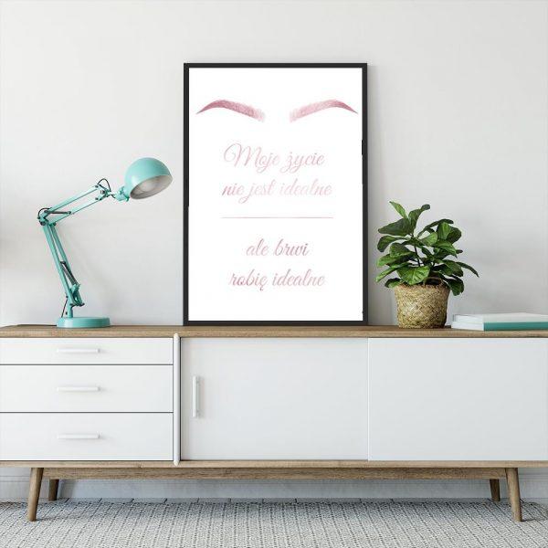 Różowo-złoty plakat z motywem brwi