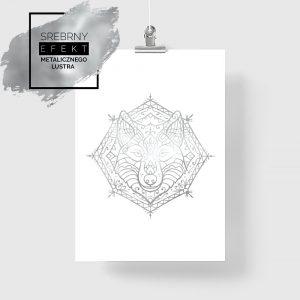 Srebrny plakat boho z wilkiem