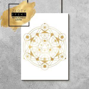 Plakat metaliczny z geometrycznym wzorem