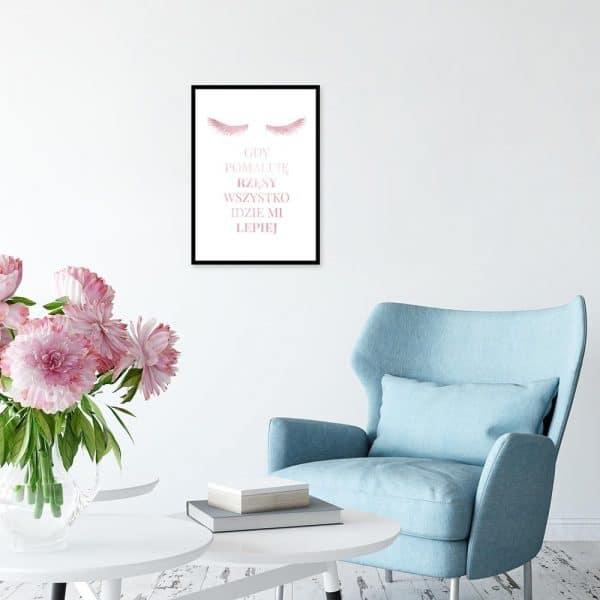 Plakat różowo-złoty rzęsy
