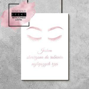 Plakat różowo-złoty z napisem o rzęsach