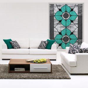 Naklejka witrażowa kwiaty turkusowe