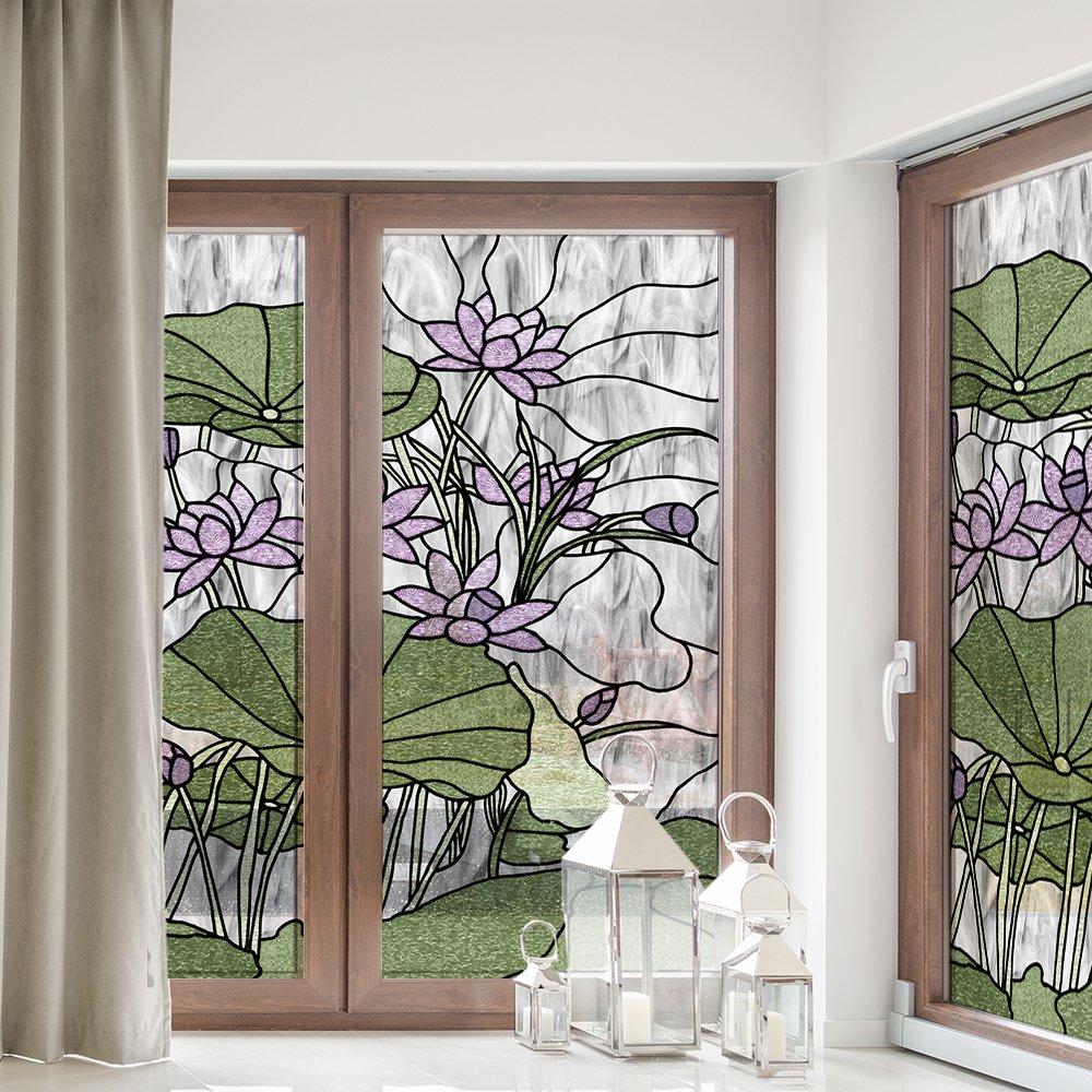Witraż samoprzylepny fioletowe lilie