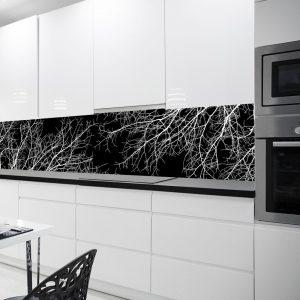 czarno-biała fototapeta kuchenna z gałęziami drzew