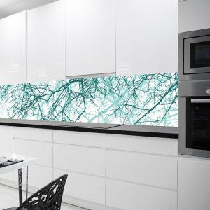 turkusowe gałęzie fototapeta kuchenna