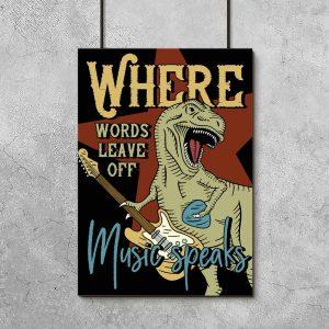 plakat dinozaur z gitarą