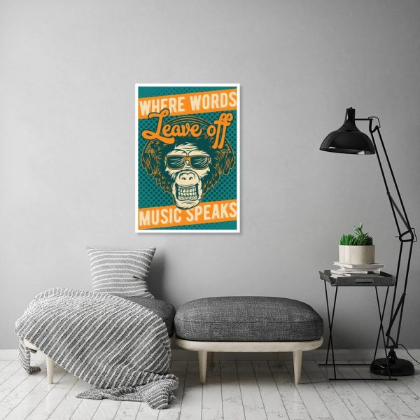 plakat turkusowy z małpą