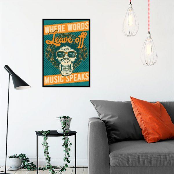 plakat z małpą w okularach