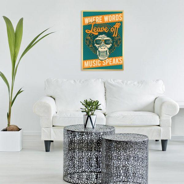 plakat małpa i napis o muzyce