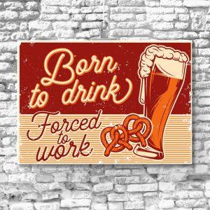 plakat retro z motywem piwa