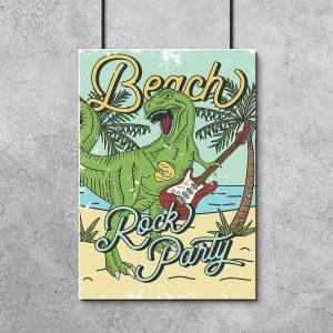 zielony plakat z dinozaurem na plaży
