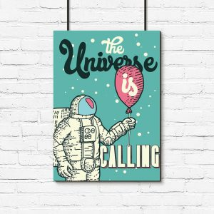 plakat astronauta z balonem