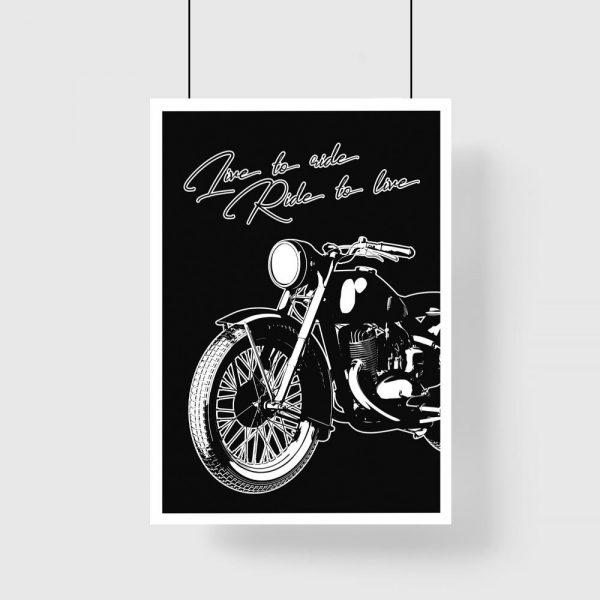 czarny plakat z motocyklem