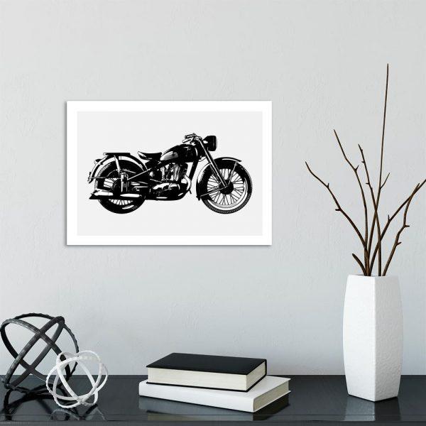 plakat z motywem motocyklu do salonu