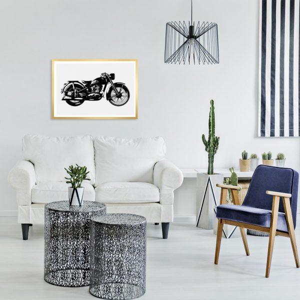 plakat z motocyklem do salonu