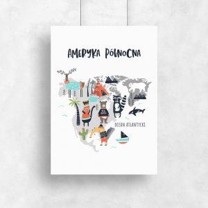plakat z mapą ze zwierzętami