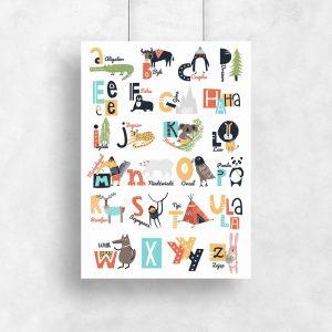 plakat z kolorowym alfabetem