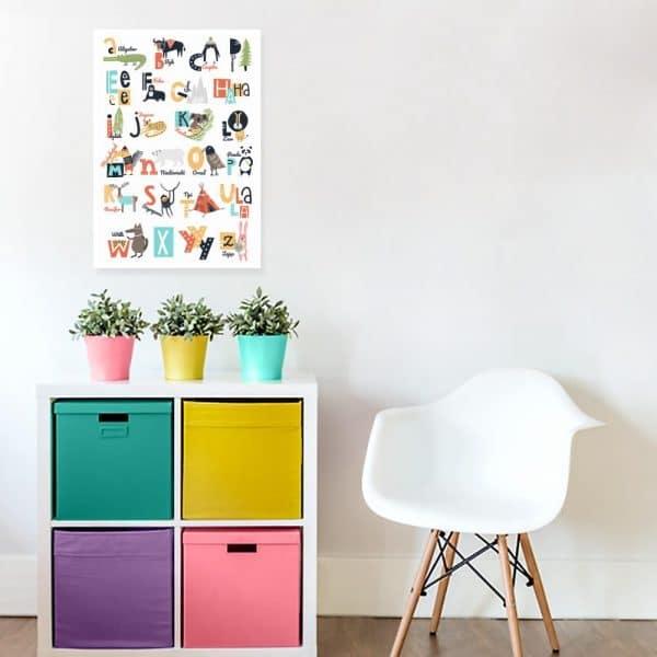 plakat z kolorowym alfabetem na ścianę pokoju dziecka