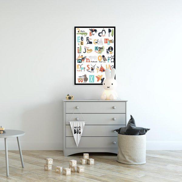 plakat z motywem alfabetu do pokoju dziecka