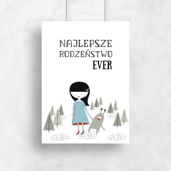 plakat z motywem dziewczynki i kosmity
