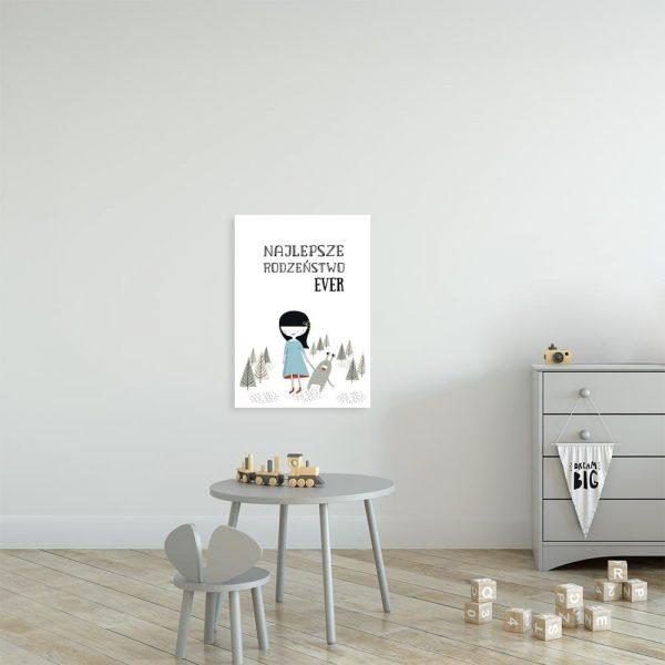 plakat z napisem i dziewczynką do pokoju dziecka