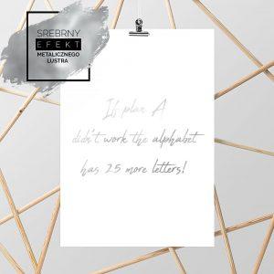 plakat motywacyjny w kolorze srebra