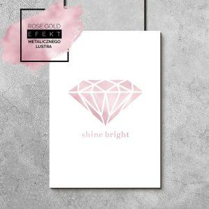 plakat różowo złoty shine bright