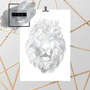 srebrny plakat z lwem